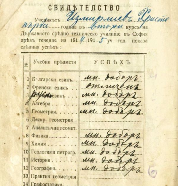 Ученическа книжка на Христо Смирненски от Държавното средно техническо училище в София