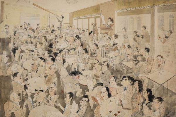 "Александър Добринов. ""Кафе-сладкарница Цар Освободител"", 1935 г. Държател БНР"